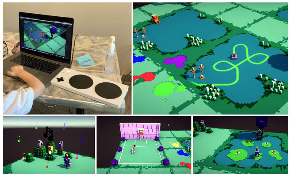 Painted Waters early prototype images - Image 1 - Arm of a playtester, Microsoft Adaptive Controller, and Computer. Image 2 - Unicorn Player Character swims in water of a pond, leaving a painted trail. Image 3 - A choir of creatures sing as player plays musical scale. Image 4 - Player avatar shoots a basketball into hoop. Image 5 - Player avatar bounces on lilypads.