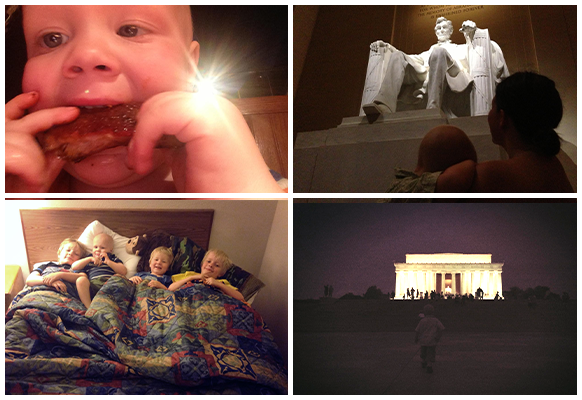 Joel Eating Wings | Joel and his brothers snuggling | Visiting The Lincoln Memorial