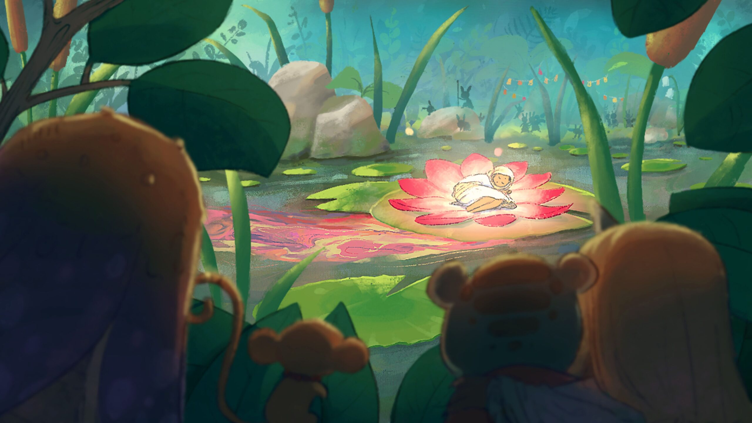 Painted Waters Concept Image - Tiny fantastical creatures watch the arrival of the one, while hiding in the shadows around a pond. The one lays in the center of a large flower and the waters around the flower swirl with bright pink, purple, and golden colors.