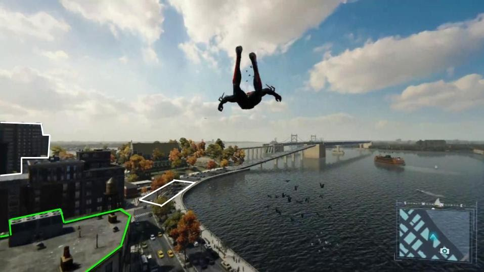 Spider-Man game screenshot of Spider-Man falling and certain locales highlighted